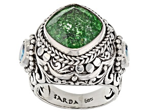 Green Crackle Quartz Silver Ring 5.30ctw