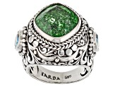 Green Crackle Quartz Silver Ring 5.30ctw