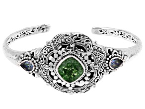 Green Crackle Quartz Silver Bracelet 5.68ctw