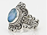 Blue Quartz Triplet Silver Ring