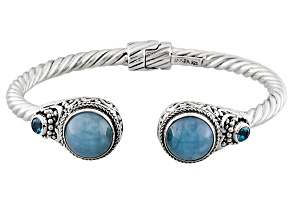 Blue Aquamarine Silver Bracelet .40ctw