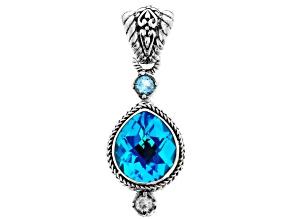 Blue Caribbean Quartz Triplet Silver Pendant .50ctw