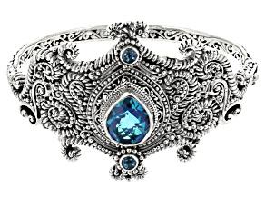 Blue Caribbean Quartz Triplet Silver Bangle Bracelet .50ctw