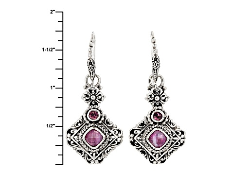 Red Ruby Triplet Sterling Silver Earrings .20ctw