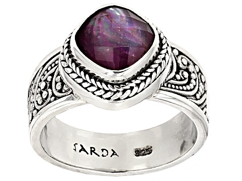 Red Ruby Triplet Sterling Silver Ring