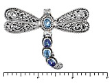 Swiss Blue Topaz Silver Dragonfly Pendant 3.40ctw