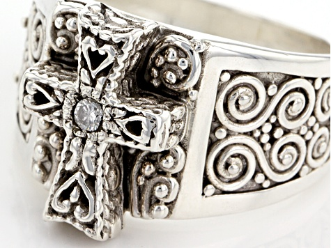 White Single Diamond Accent Silver Cross Ring .03ct