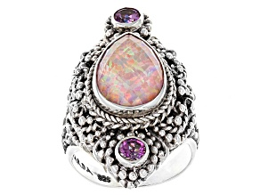 Pink Opal Simulant Doublet Silver Ring .50ctw