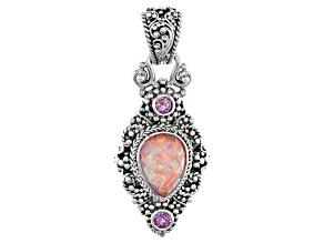 Pink Opal Simulant Doublet Silver Pendant .50ctw