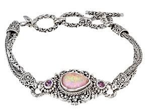 Pink Opal Simulant Doublet Silver Bracelet .50ctw