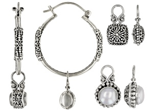 White Cultured Freshwater Pearl Silver Earrings Set