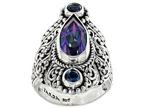 Sweet Harp™ Mystic Quartz® Silver Ring 3.66ctw