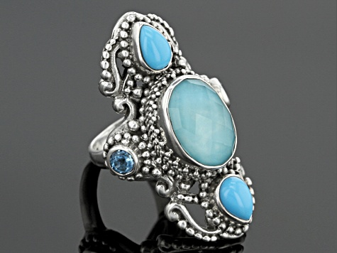 Blue Mexican Turquoise Doublet Silver Ring .60ctw