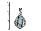Blue Mexican Turquoise Doublet Silver Pendant .60ctw