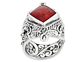Red Bamboo Coral Silver Ring