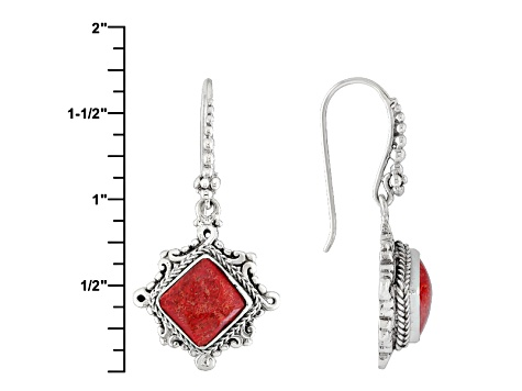 Red Bamboo Coral Silver Earrings