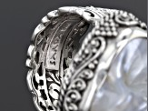 White Carved Mother Of Pearl Silver Elephant Ring