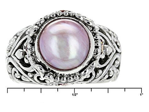 Pearl Mabe Silver Ring .80ctw