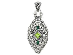 Green Peridot Silver Pendant 1.70ctw
