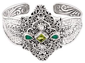 Green Peridot Silver Cuff Bracelet 1.70ctw