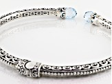 Swiss Blue Topaz Sterling Silver Bangle Bracelet 3.80ctw