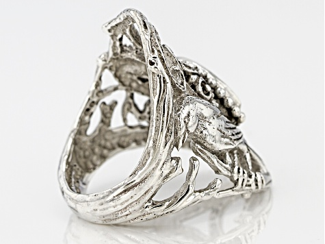 White Topaz Silver Bird Ring .80ct