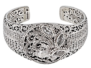 White Topaz Silver Bird Cuff Bracelet 2.40ctw