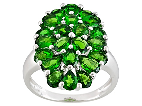 Sterling Silver 3.26ctw Chrome Diopside Cluster Ring