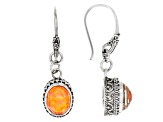 Orange Opal Simulant Doublet Sterling Silver Dangle Earrings