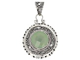 Green Chalcedony Solitaire Silver Pendant