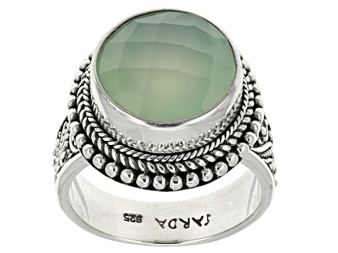 Green Chalcedony Solitaire Silver Ring