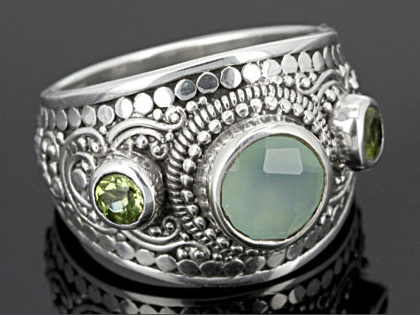 Green Chalcedony Sterling Silver Ring .66ctw. Web Only.