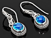 Blue Caribbean Quartz Triplet Silver Earrings