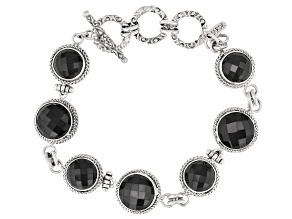 Black Spinel Rhodium Over Sterling Silver Bracelet 8.50ctw