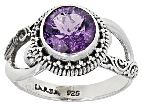 Purple Amethyst Rhodium Over Sterling Silver Ring 1.70ct