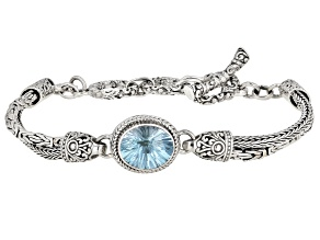 Blue Topaz Rhodium Over Sterling Silver Bracelet 5.10ct