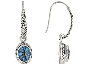 Blue Topaz Rhodium Over Sterling Silver Earrings 2.16ct