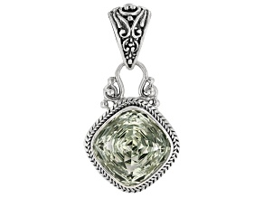 Green Prasiolite Rhodium Over Sterling Silver Pendant 8.93ct.