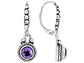 Purple amethyst rhodium over sterling silver earrings 0.63ct