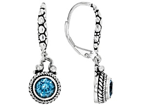 Blue Topaz Rhodium Over Sterling Silver Earrings 0.55ct