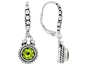 Green peridot rhodium over sterling silver earrings 0.51ct