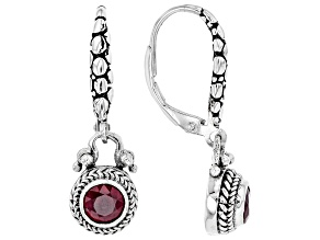Red Ruby rhodium over sterling silver earrings 0.60ct