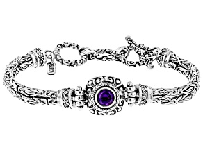 Purple Amethyst Rhodium Over Sterling Silver Bracelet 1.02ct