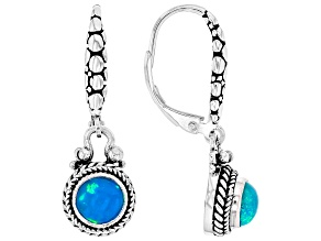 Pariaba opal rhodium over sterling silver earrings 5mm