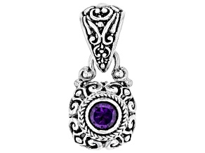 Purple Amethyst Rhodium Over Sterling Silver Pendant 1.02ct