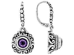 Purple Amethyst Sterling Silver Earrings 1.02ctw