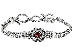 Red Garnet Rhodium Over Sterling Silver Bracelet 1.11ct