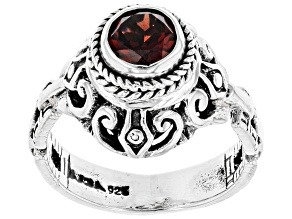 Red Round Garnet Rhodium Over Sterling Silver Ring 1.11ct