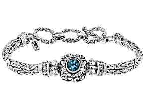 Swiss blue topaz rhodium over sterling silver bracelet 0.54ct