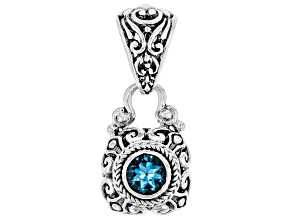 Swiss blue topaz rhodium over sterling silver pendant 0.94ct